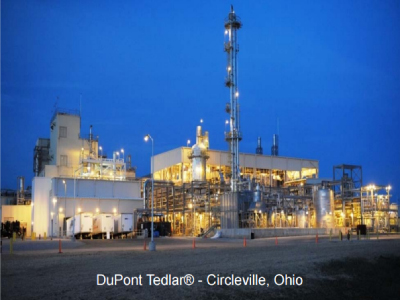 dupont factory at night with factory lights